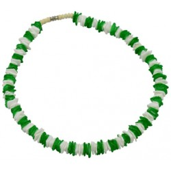 Green & White Rose Clam Shell Necklace