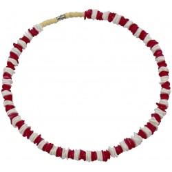 Red With White Rose Clam Shell Necklace