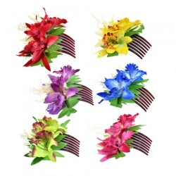 Spotted Orchid Flower Hair Combs