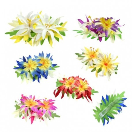 Tiare Flower With Leaves Hair Clips