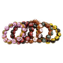 Hand Painted Hibiscus Flower Wooden Beads Bracelet