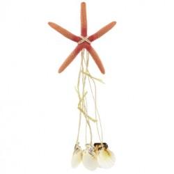 Orange Star Fish Wind Chime With Sea Shells