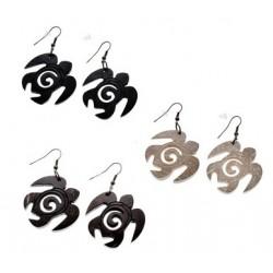 Wooden Honu Turtle Spiral Shell Earrings