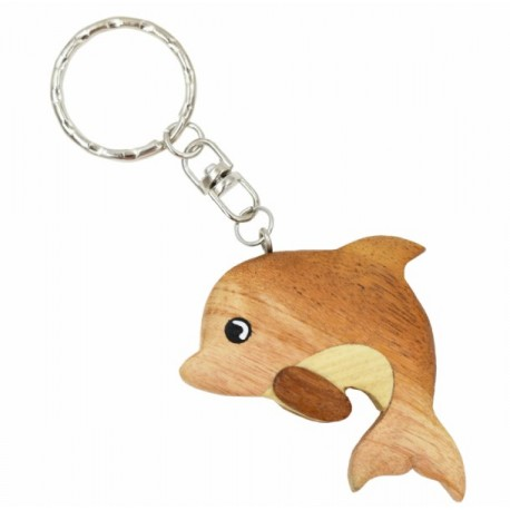 Wooden Dolphin Key Chain