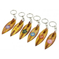 Wood Surfboard with Hibiscus Keychain