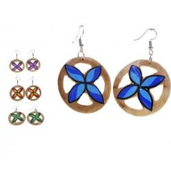 Plumeria Round Coconut Earrings