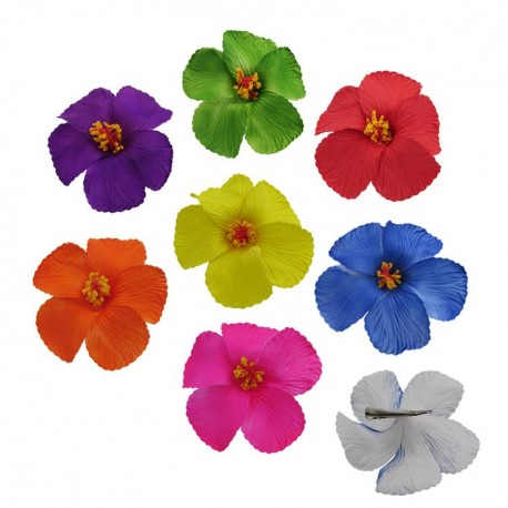 XXL Solid Color Hibiscus Flower Hair Clips