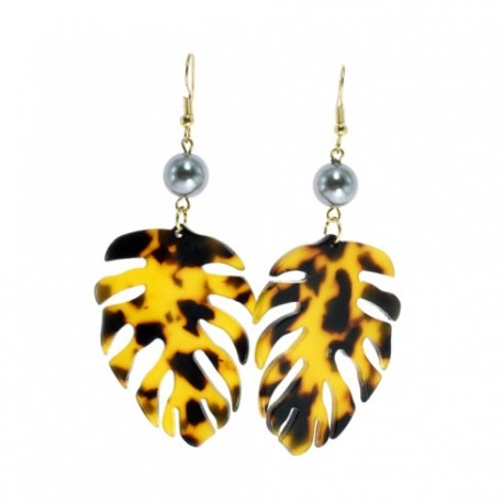 Faux Turtle Shell Palm Leaf And Pearl Earrings