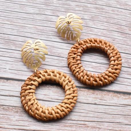 Hand Made Palm Leave Rattan Hoop Earrings