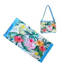 Hibiscus Palm Leaves Beach Towel Fold Able Bags