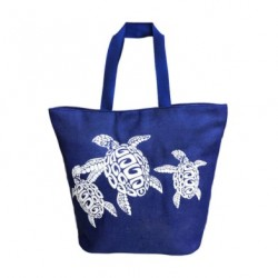 XL Navy Blue Canvas Tribal Turtles Tote Bag