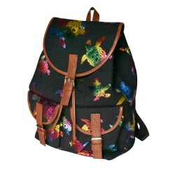 Canvas Turtle Back Pack With Leather