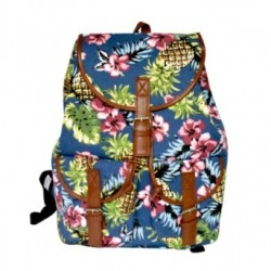 Blue Canvas Pineapple Back Pack With Leather