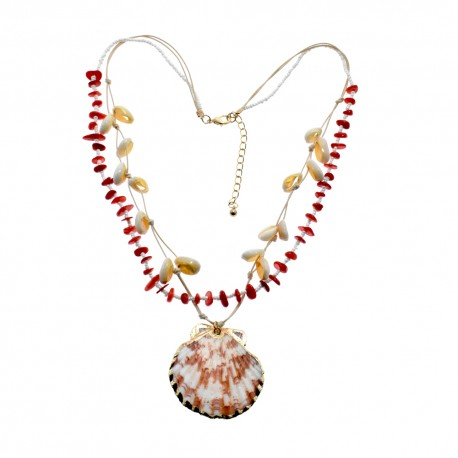 Sea Shell Pendant With Cowrie Shell Necklace