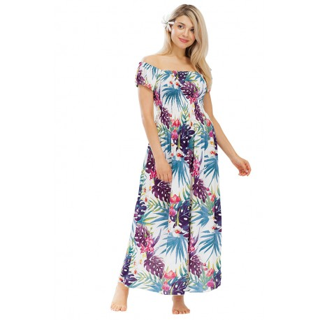 Long Women Dress Cover Up With Flower