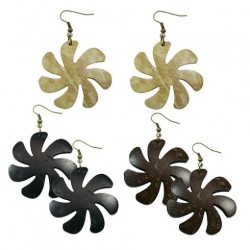 Carved Coconut Earrings-Flower/Tiare
