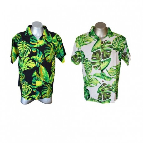 Mens Aloha Shirt With Palm Leaves
