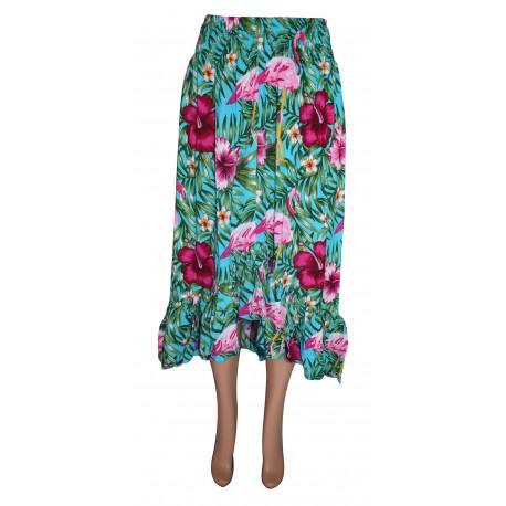 Unbalanced Long Skirt With Flamingo Motif