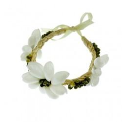 Green Mongo Shell With Bubble Shell Raphia Bracelet