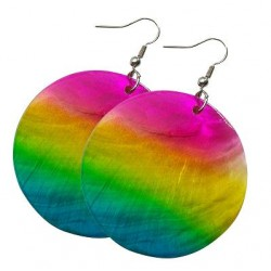 Rainbow Colored Shell Earrings