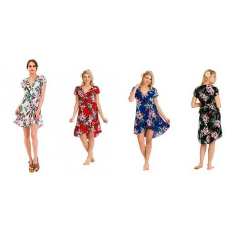 Women Wrap Dress With Flower Motif