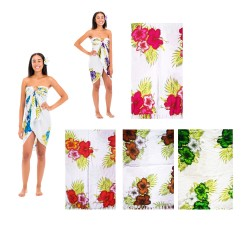 Hibiscus Flower White Back Ground Sarong