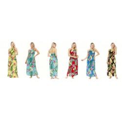 Flower And Leaf V-Neck String Long Dress Assorted Colors