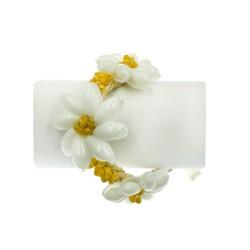 Yellow Mongo Shell With Bubble Shell Raphia Bracelet