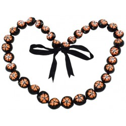 Full Orange Hibiscus Flower Kukui Nut Lei/Necklace