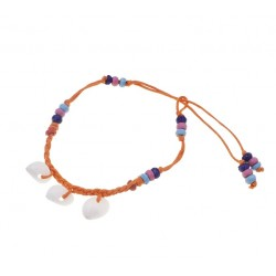 Three White Moon Shell With Coconut Beads Anklet
