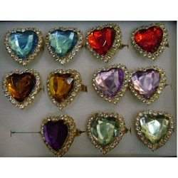 Faux Crystal Heart Rings