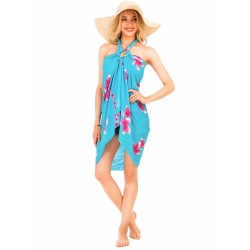 Solid Color Back Ground Plumeria Flower Beach Sarong