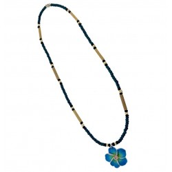 Turquoise Flower With Coconut Necklace
