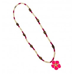 Pink Flower With Coconut Necklace