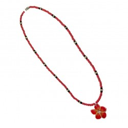Orange Flower With Coconut Necklace