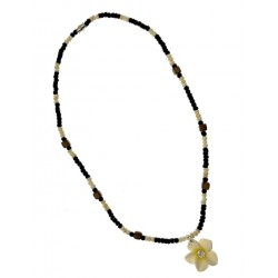 Yellow Fimo Flower With Coco Necklace