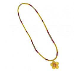 Yellow Flower Coconut Necklace