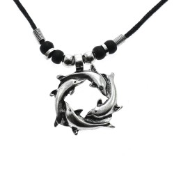 Circle Dolphin Pendant Necklace