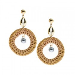 Pearl With Rattan Earrings