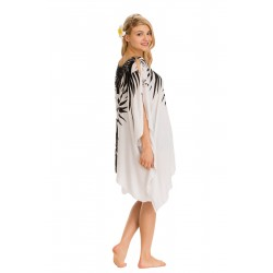 Poncho Dress With Palm Leaves (Black)