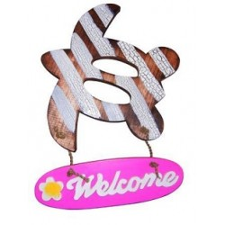 """Welcome"" Wooden Sign (Pink)"