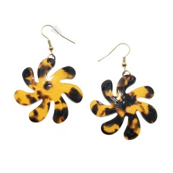 Medium Brown Faux Turtle Shell Tiare Flower Earring