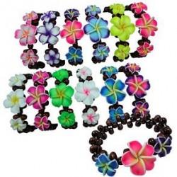 Wooden Fimo Flower Bracelet