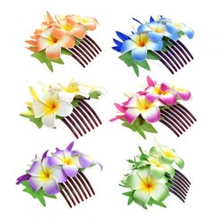 Three Plumeria Flower With Leaves Hair Comb