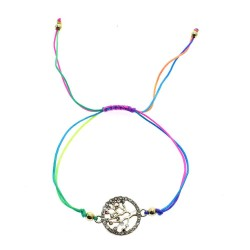 Crystals Tree Of Life Neon Wax Cord Bracelets