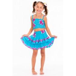 Girls Floral Print off shoulder top&ruffle Skirt Set