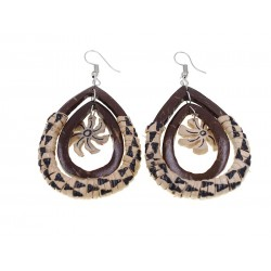 Hand Made Tear Drop Coconut With Rattan Earrings