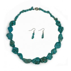 Stone Turquoise Necklace & Earrings Set
