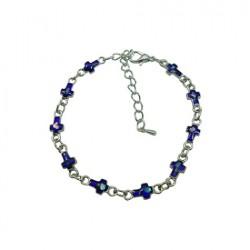 Cross Paua Pendant Bracelet/Anklet(Blue)