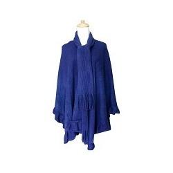 Lady's Ruffle Edge Poncho/Scarf (Navy Blue)